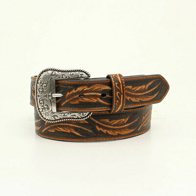 Ariat Western Mens Belt Leather Fabric Embossed Studded Brown A1033297