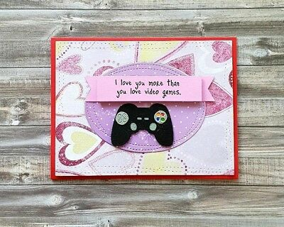 Handmade Valentine's Day Card *Love You More Than Video Games* *Videogame Lover*