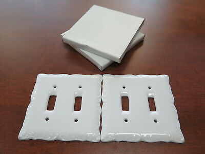 LOT of 2 WHITE PORCELAIN DOUBLE LIGHT SWITCH WALL PLATE CERAMIC COVER NIB