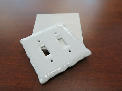 Single White Porcelain Double Light Switch Wall Plate Ceramic Cover Nib