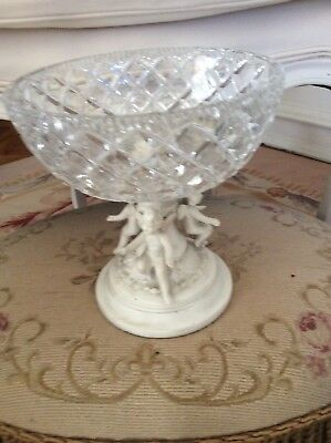 shabby Vtg Cherub Angel Putti Metal Fairy wings Compote Bowl display bowl
