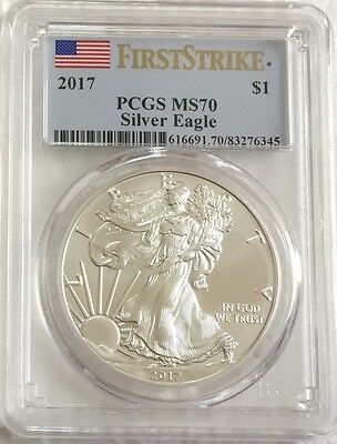 2017  $1 - First Strike - PCGS MS70 American Silver Eagle - Flag Label *AB