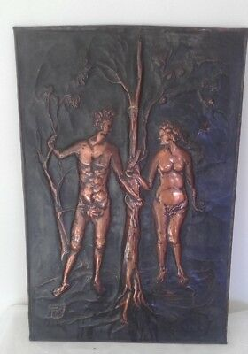 Vintage Adam & Eve copper wall art signed circa 1950s