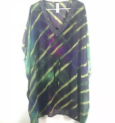 4372fb6482 Beach Wear Green Purple Peacock Beaded Neckline Cover Up Top Blouse S/M