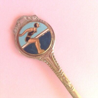 Vintage Melbourne Olympic Games Epns 1956 Pitcher Swimming Enamel Tea Spoon
