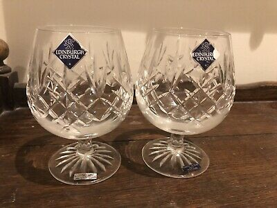 Edinburgh Crystal 2 Lomond Glasses Pair Brandy Glasses Signed Original Stickers