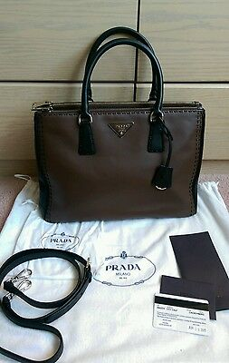 af1a99578a6a Authentic PRADA CITY CALF Large Leather Tote Cacao Nero Tu / Cards Dust Bag