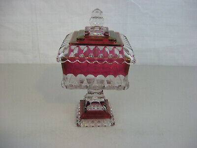 """Vintage Clear & Ruby Red Glass Candy Jar 9 3/4"""" tall"""