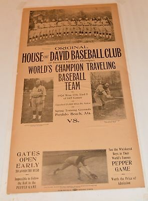 Baseball: House of David; Poster 11 1/4 x 22 rare on paper Benton Harbor