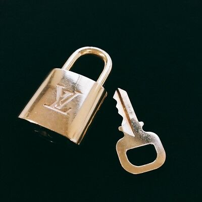 LOUIS VUITTON PadLock Lock and Key set for Bags Brass Gold Color (Number random)