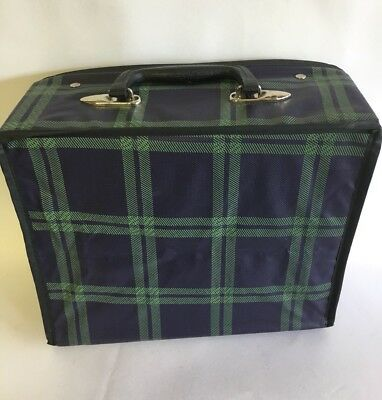 Vintage 1950s Tartan Plaid Square Lunch Box Vinyl Case w/ Handle Zipper Purse