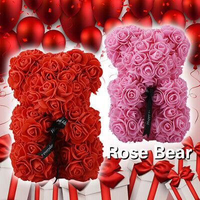 WR 23cm Rose Teddy Bear Flower In Gift Box For Wedding Birthday Mother's Day 520