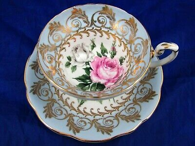 Foley Pink & White Rose Fancy Gold Designs Light Blue Tea Cup And Saucer