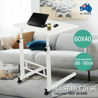 66 - 90cm Wheels Adjustable Height Mobile Wooden Laptop Study Desk Stand Table