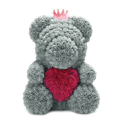 16 Inch Gray Bear Holding Red Heart Crown Rose Roses Flower Birthday Gifts