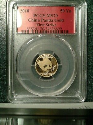 2018 china gold panda pcgs ms70 first strike 3 gram 50 yuan red label