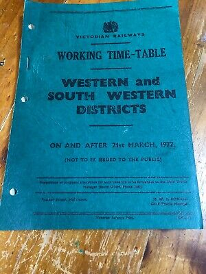 Victorian Railways Working Time Table - Western & South Western District 1977
