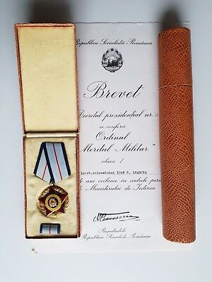 RARE Romanian Military Merit Order I 1  class with certificate signed Ceausescu