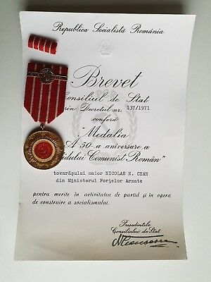 Romanian Medal Communist Party Anniversary Signed President N. Ceausescu