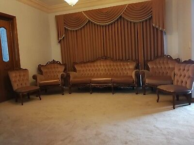 Vintage French Sofa Set of 5 in apricot windsor velvet