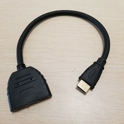 1.4 HDMI 1 Male to 2 Female Y Splitter Adapter Cable Gold Thin 1080P 30cm