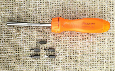 Snap On SSDMR4B Orange handle ratcheting screwdriver, with bits