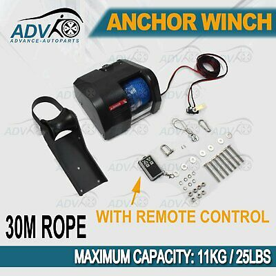 Electric Anchor Winch W/ 30M*5mm Rope MAX 11KG For Marine Boat 12V Wireless
