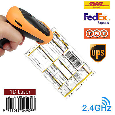 2 IN 1 USB Wired & 2.4GHz Wireless Barcode Scanner Reader for Store Warehouse 1D
