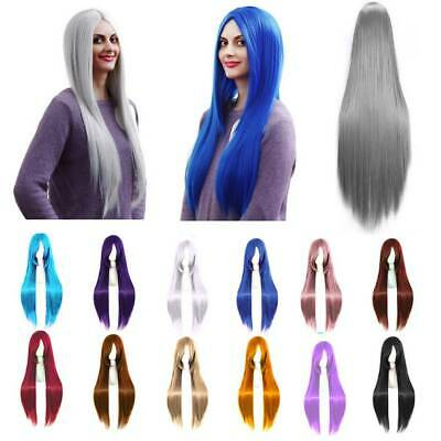 Women Long Hair Full Wig Curly Wavy Straight Hair Wigs Party Costume Cosplay UK