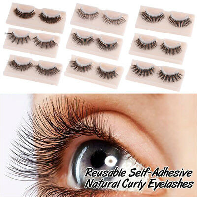 1 Pair 3D Self-Adhesive False Eyelashes Extension No Glue Required Lashes