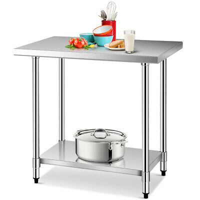 """24"""" x 36"""" Stainless Steel Food Prep & Work Table Commercial Kitchen Worktable"""