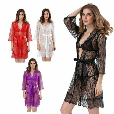 Women Lingerie Robe Dress Women Lingerie Plus Size See Through Nightwear HS