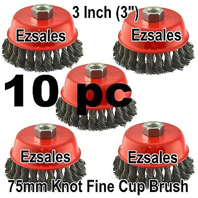 "10 PC 3"" x 5/8"" 11 NC FINE Knot Wire Cup Brush Twist 4-1/2 Angle Grinders Wheel"