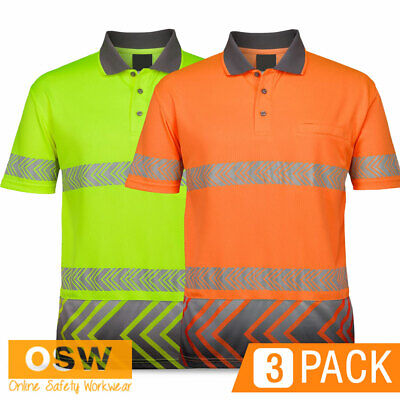 3 X Hi Vis S/S Arrow Sublimated Segmented Reflective Day Night Work Polo Shirts