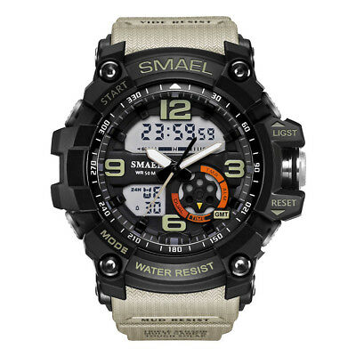 SMAEL Men's Sport Heavy Duty Military Watch Dual Display LED Waterproof Watches