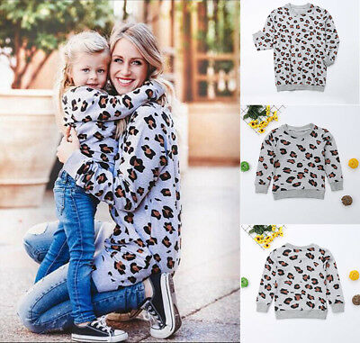 Family Matching Hoodie Mother and Daughter/Son Casual Leopard Print Tops Hoodies
