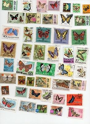 BUTTERFLIES AND MOTHS on Stamps 60 All Different - Off Paper