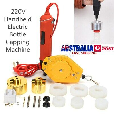 220V Handheld Electric Capping Machine Handle Manual Bottle Cap Sealer Sealing !