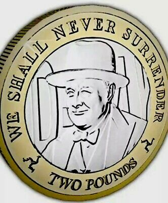 Isle Of Man Coin 2£ Pounds 2019 Churchill Never Surrender WWII manx New From Bag