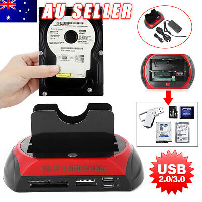 "Dual 2.5"" 3.5"" IDE SATA HDD Hard Drive Disk Dock Docking Station OTB Card Reader"