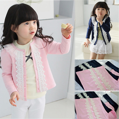 Girl children's side buckle lace cardigan coat spring winter long-sleeved shirt