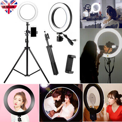 "10"" LED Ring Light with Stand Dimmable Lighting Kit For Makeup Youtube Live A"