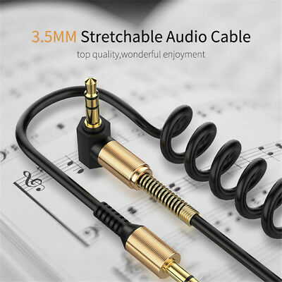 3.5mm Mini Spring Jack to Jack Coiled Male Aux Cable Audio Auxiliary Lead PC Car
