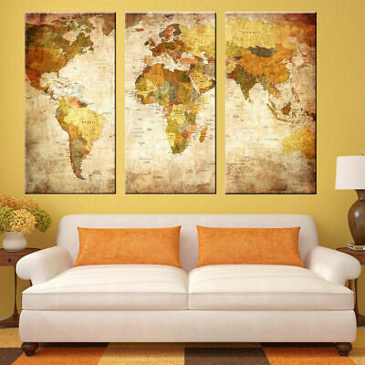 3 Panel Modern Oil Painting World Map Wall Picture Unframed Canvas Home Decor