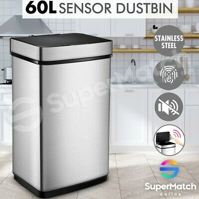 60L Motion Sensor Silver Rubbish Trash Bin Automatic Touchless Stainless Steel