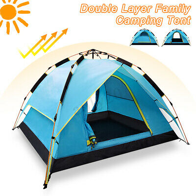 3-4 Persons 2 Layer Instant for popup Large Camping Tent Outdoor Shelter UV Ray