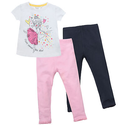 Girls Short Sleeved Cotton Top Shirt T-shirt Leggings Set Outfit Printed