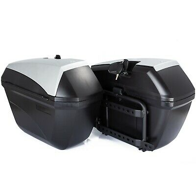 Motorcycle Pair Side Cases Rigid Silver 23L Motorcycle Bags Frame Included