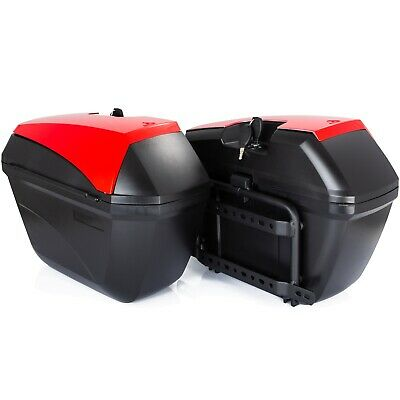 Motorcycle Pair Side Cases Rigid Red 23L Motorcycle Bags Frame Included