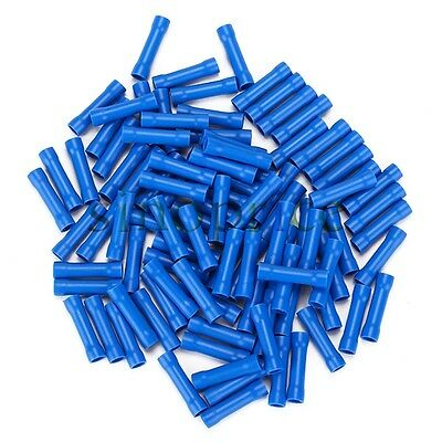 100pcs Blue Cable Butt Connectors Insulated Straight Crimp Terminal 16-14 AWG